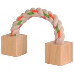 Въже с кубчета за гризачи 20cm.