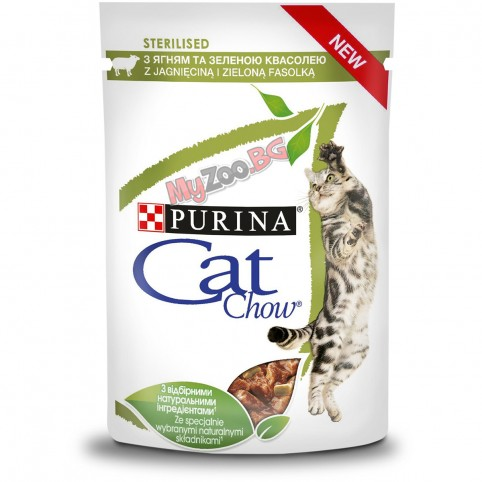 PURINA® CAT CHOW® STERILISED 85гр. - Храна за кастрирани котки-над 1 година, с Агне и Зелен Фасул, Мокра храна, Пауч в сос.