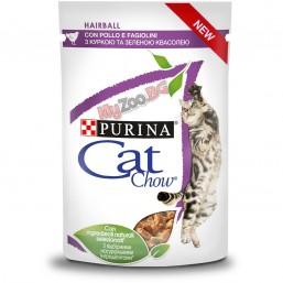 PURINA® CAT CHOW® HAIRBALL CONTROL 85гр. - Храна за котки  за космени топки с Пиле и Зелен фасул, Мокра, Пауч в сос