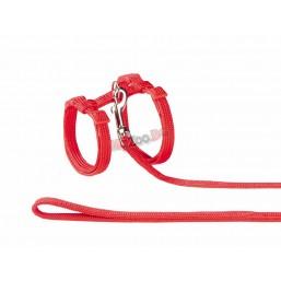 Nobby Нагръдник с повод за котка изкуствена лента червен