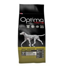 OPTIMA NOVA ADULT DIGESTIVE RABBIT&POTATO 12 кг.70% месо / заек и картоф / Суперпремуим храна за кучета хипоалергична GRAIN FREE - липсва глутен